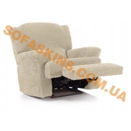Чехол на кресло-реклайнер с подставкой для ног Гламур Бежевый